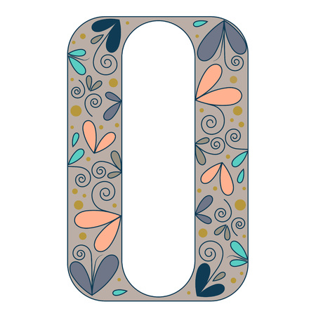 forme: forme de lettre décorative. Type de police multicolors O. Illustration