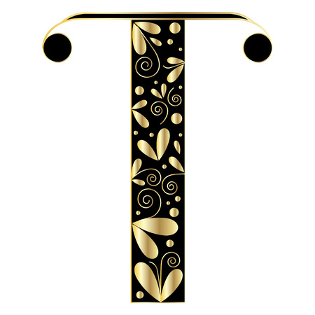 initial: Decorative letter shape. Font type T. Black and gold colors