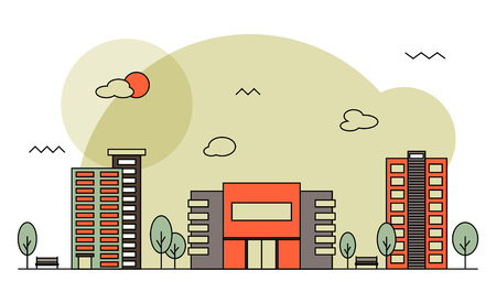 residential zone: Modern street scenery in flat design style. Residential district with building of bank, cinema or market, trees and houses with place for text