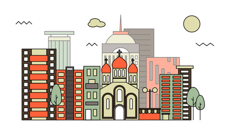 residential zone: Modern street scenery in flat design style Illustration