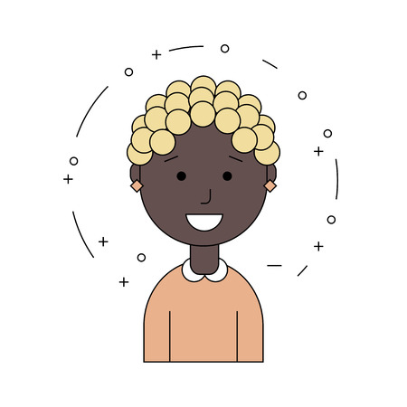 Black woman face. African American girl. Avatar. Flat line style