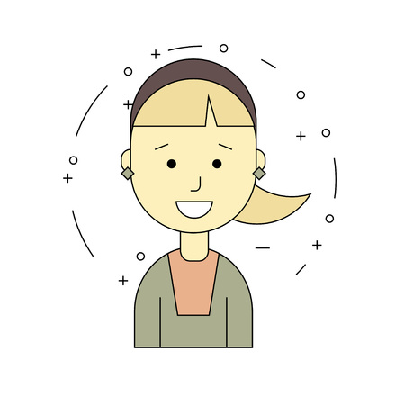 Girl character with hair tail, minimalism cartoon flat style, vector art illustration.