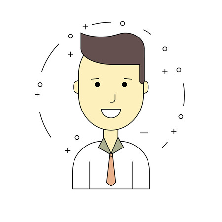 889a875cd43 Neat Smiling guy character. Vector illustration of color icon in flat line  style. Linear