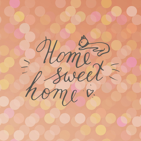 Home sweet home postcard with cat. Hand drawn vector background. Ink illustration. Modern brush calligraphy. Illustration