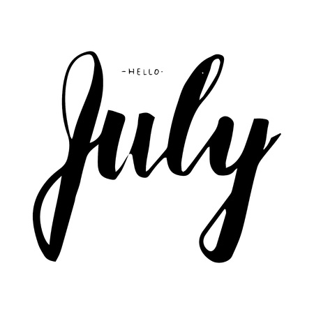 calendario julio: Hello July lettering print. Summer minimalistic illustration. Isolated calligraphy on white background. Can be used for poster, calendar, cards etc. Vectores