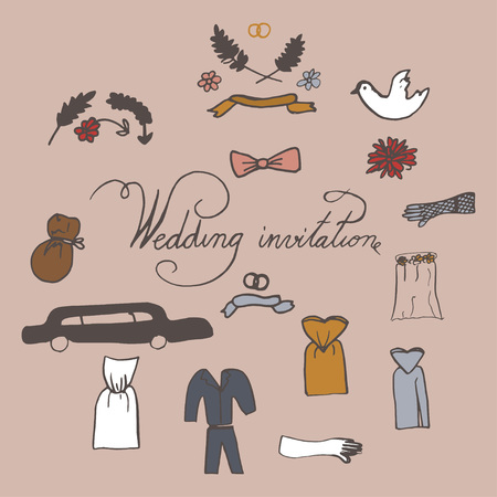 Hand drawn doodle Wedding day collection Vector illustration Sketchy Marriage icons. Set of icons for Engagement, get married, love and romantic event Bride