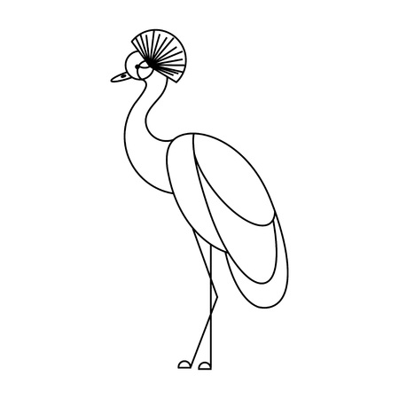 Crowned crane. Tropical bird. Isolated on white background. Outline flat style. Illustration