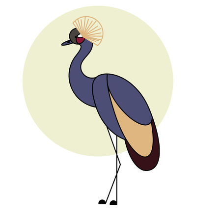 kenya: Crowned crane. Tropical bird. Colorful flat style Illustration