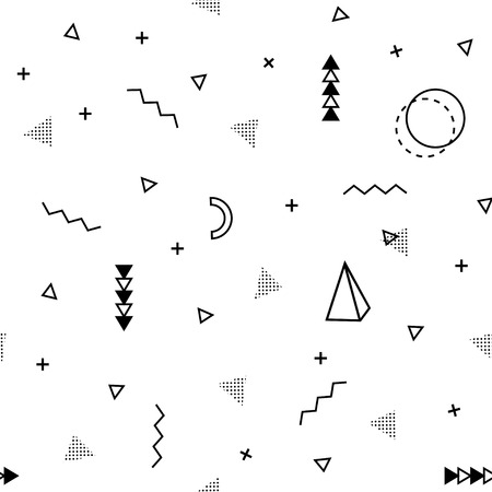 Seamless Memphis background. Abstract pattern fashion 80-90s. It can be used in printing, website background and fabric design. Ilustração