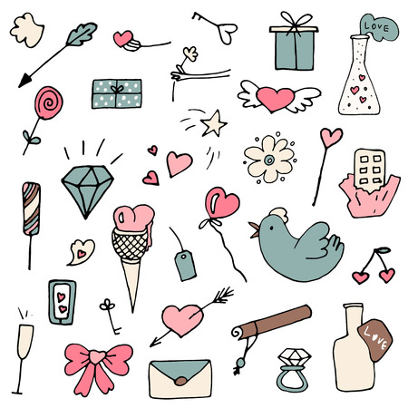 Set of Valentine icons in doodle style. Hand drawn elements for wedding cards, romantic design etc.