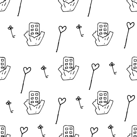 Love symbols Seamless pattern. Hand drawn doodles Vector illustration. Can be used for scrapbooking, fashion, cards for wedding, Valentine s day and other romantic occasion. Illustration