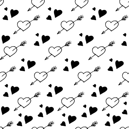 Vector seamless pattern. Simple repeating texture with outline doodle hearts. Stylish hipster texture.