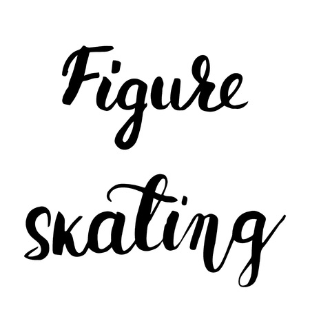 Figure skating black hand lettering text isolated on background, vector illustration. Sport, fitness, activity vector design. Print for logo, T-shirt etc. Stock Illustratie
