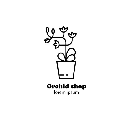 Vector illustration of an orchid flower in pot, flower shop logo design, orchid gallery logo, flower icon outline.