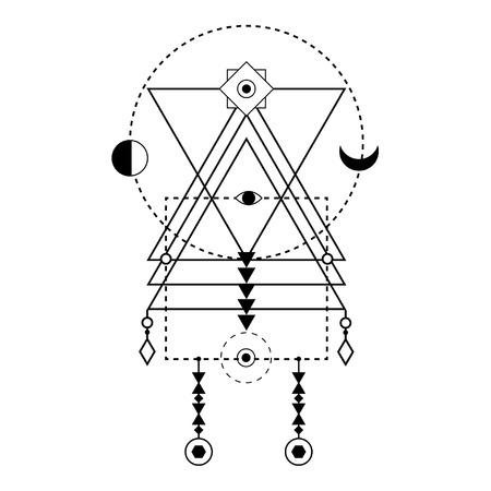 Sacred geometry forms. Magical totem. Alchemy, religion, philosophy, hipster elements and logo. Bohemian ethnic symbol