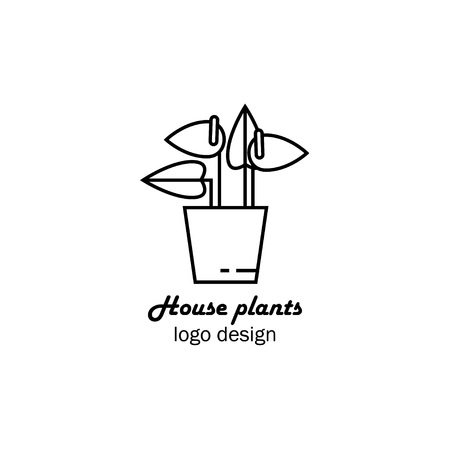 Vector illustration of an house flower in pot, flower shop logo design, home plant logo, flower icon outline. Illustration