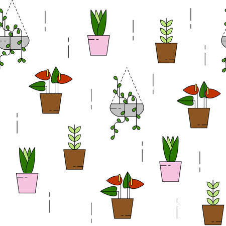 House plants seamless pattern. Can be used for background, website, poster etc.