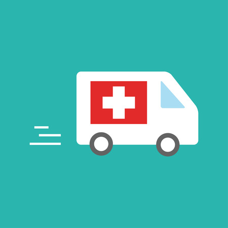 ambulance car rushes to the call. Emergency sign, medical vector flat illustration. Vectores