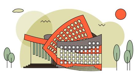 Edificios de conciertos modernos de estilo plano. Sala de conciertos para festival de música, concierto de rock, etc.