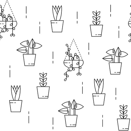 House plants seamless pattern with climbing plant and lilly. Can be used for background, website, poster etc.