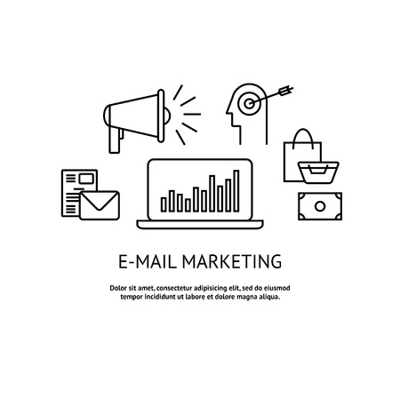 Modern flat e-mail marketing concept. Marketing message with idea, advertising , target audience, shopping and profit. Concepts vector illustration.