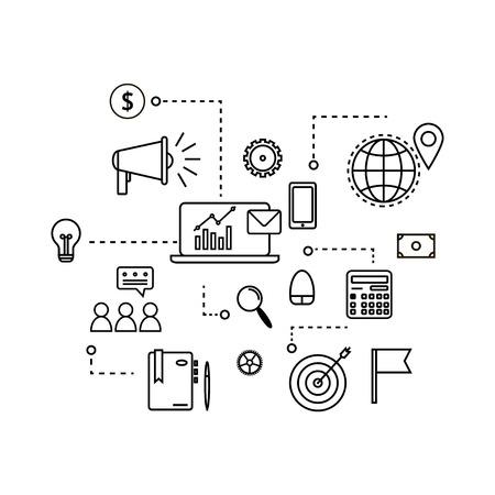 Modern outline flat business concept. E-mail marketing chart Illustration