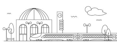 Suburban train station. Modern scenery in flat design style Illustration