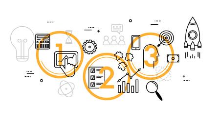 Flaches Design-Illustrationskonzept für den Geschäftsprozess von der Idee bis zur Realisierung. Marktforschung, Analyse, Planung, Unternehmensführung, Strategie. Vektorgrafik