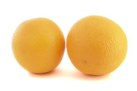insulated: Two oranges isolated closeup on white background