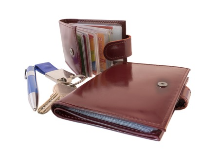 card holder: business card holder, pen and Notepad on white background Stock Photo