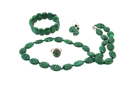 dowry: Necklace, bracelet, earrings and ring set in silver and malachite