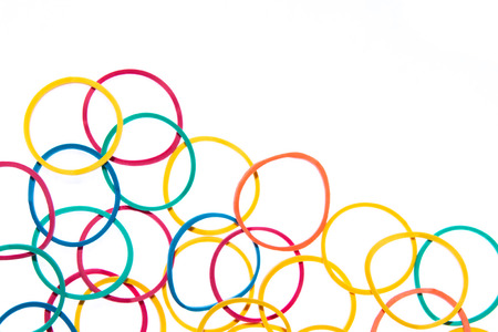 rubbery: Writing elastic bands on a white background