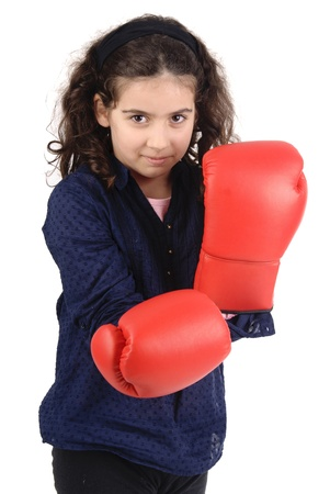 little girl with boxing gloves photo