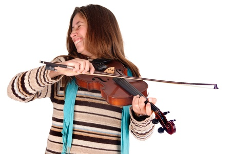 young girl playing violin photo