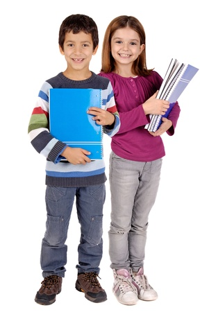 boy and girl with books isolated in white photo