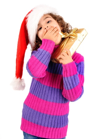 little girl on christmas isolated in white Stock Photo - 17830434
