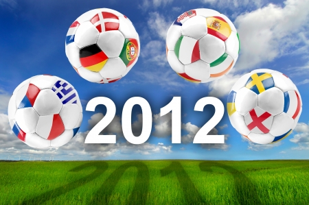 Euro 2012 cup group balls on field Stock Photo - 17830515