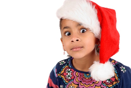 little girl on christmas isolated in white Stock Photo - 17830247