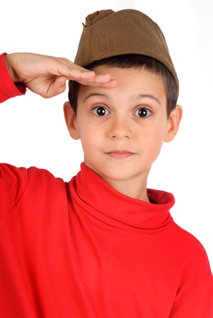 little militar boy isolated in white Stock Photo - 17830389
