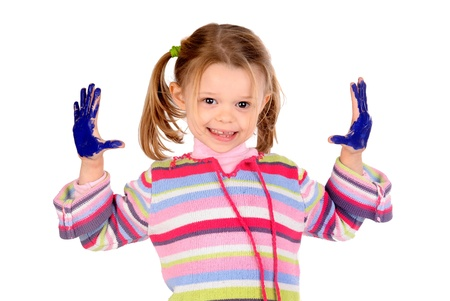 Five year old girl with hands painted Stock Photo - 17830325
