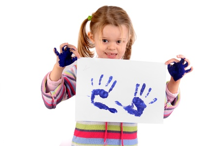 Five year old girl with hands painted Stock Photo - 17830141