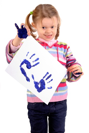 Five year old girl with hands painted Stock Photo - 17830306