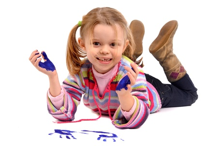 Five year old girl with hands painted Stock Photo - 17830287