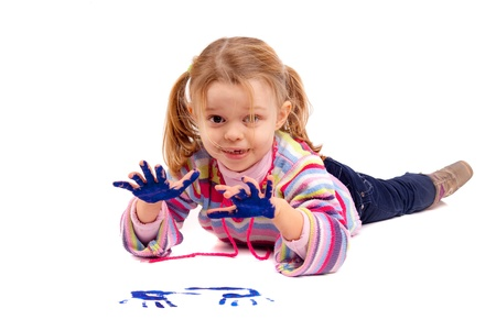 Five year old girl with hands painted Stock Photo - 17830165