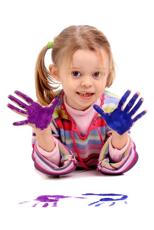 Five year old girl with hands painted Stock Photo - 17830314