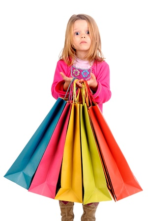 little girl with shopping bags Stock Photo - 17830222