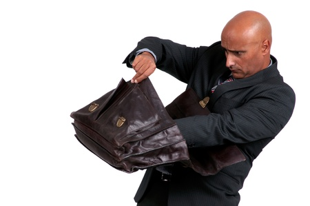 business man searching brief case photo