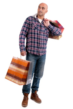 Adult man shopping christmas gifts isolated in white photo