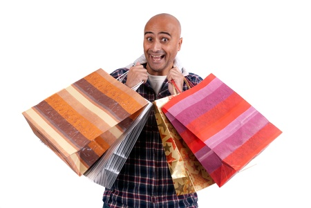 Adult man with shopping bags photo