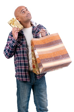 Adult man shopping christmas gifts photo